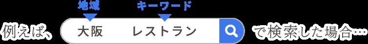 例えば、大阪 レストラン で検索した場合…